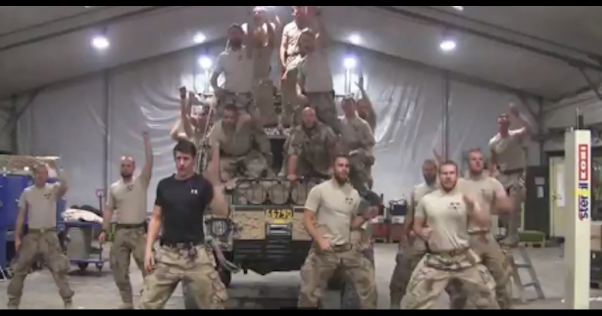 This screengrab from YouTube shows a group of Swedish Marines dance and sing