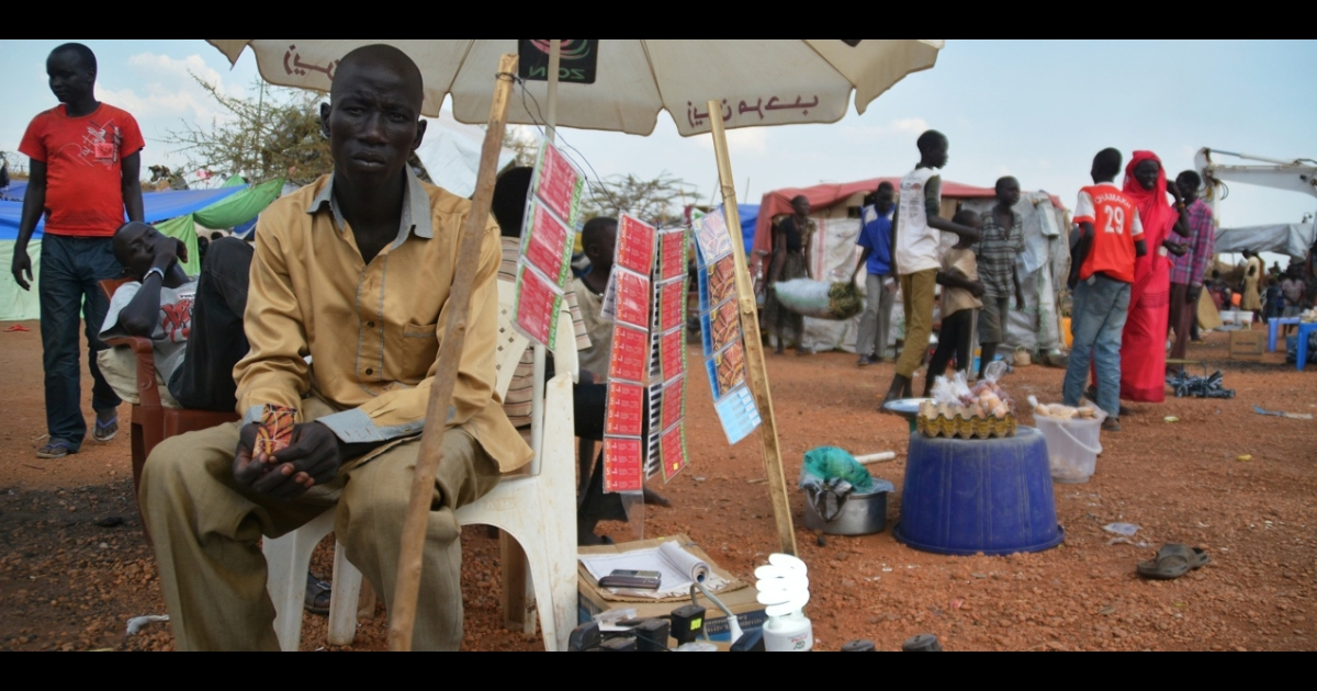 Credit cards for sale at a United Nations displaced persons' camp in Juba, South Sudan.</p>