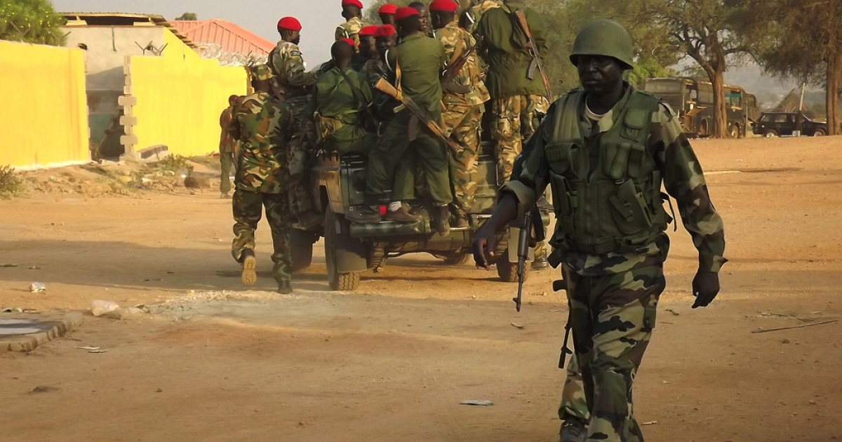 A group of South Sudanese soldiers patrol the streets of Juba on January 2, 2014.</p>