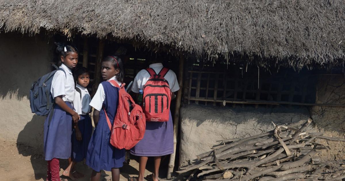 Schoolchildren in Subalpur, India, Jan. 24, 2014.</p>