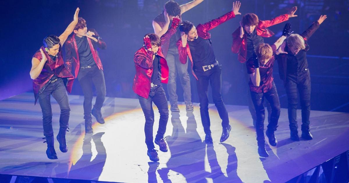 South Korean boy band Super Junior performs live on November 30, 2013 in Macau.</p>