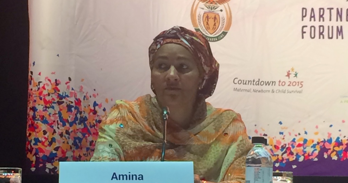 Amina Mohammed, the United Nations' Special Advisor of the Secretary-General on Post-2015 Development Planning, speaks at the The Partnership for Maternal, Newborn &amp; Child Health conference in Johannesburg, South Africa in June 2014.</p>