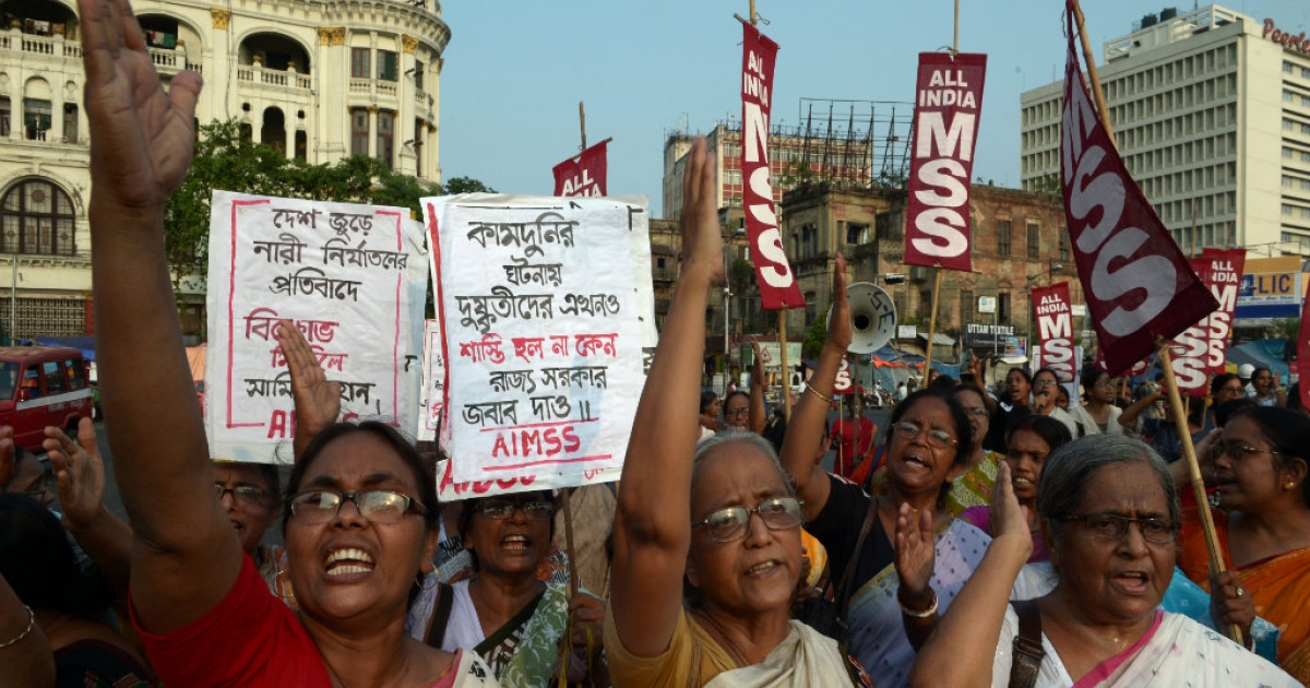 Indian activists from the Social Unity Center of India (SUCI) shout slogans against the state government in protest against the gang-rape and murder of two girls in the district of Badaun in the northern state of Uttar Pradesh and recent rapes in the eastern state of West Bengal, in Kolkata on June 7, 2014. The protests came amid a growing uproar over the killings in Uttar Pradesh, with the United Nations saying violence against women should be regarded as a matter of basic human rights. The two cousins, aged 14 and 12, were found hanging from a mango tree in their impoverished village, with subsequent tests showing they had been the victim of multiple sexual assaults.</p>