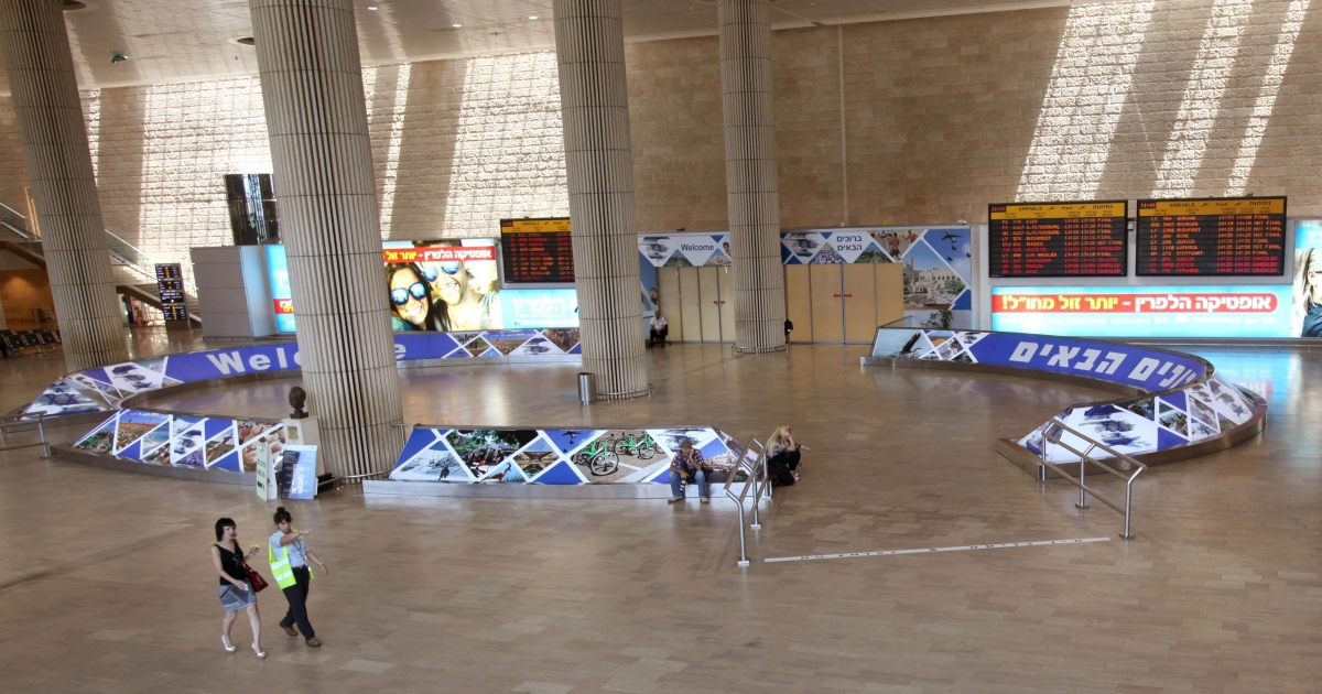 The empty arrival lounge of Ben Gurion International airport, near Tel Aviv.</p>
