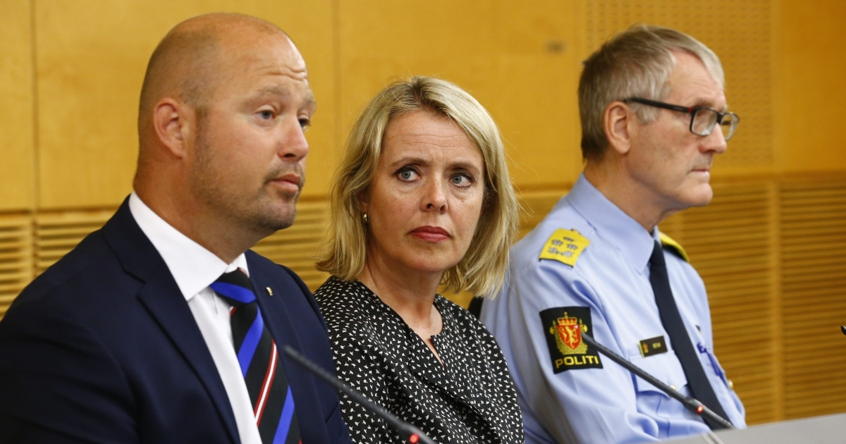Minister of Justice and Public Security, Anders Anundsen (L), the head of the Norwegian intelligence service, Benedicte Bjoernland, and head of the police Vidar Refvik. Norway has taken exceptional security measures after being informed of a possible imminent 'terrorist' attack by militants who have fought in Syria, the country's intelligence chief said Thursday.</p>