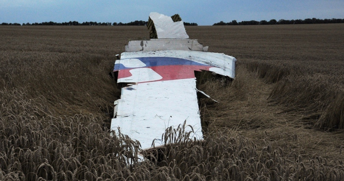 This picture taken on July 17, 2014 shows the wreckage of the Malaysian airliner carrying 295 people from Amsterdam to Kuala Lumpur after it crashed, near the town of Shaktarsk, in rebel-held east Ukraine.</p>