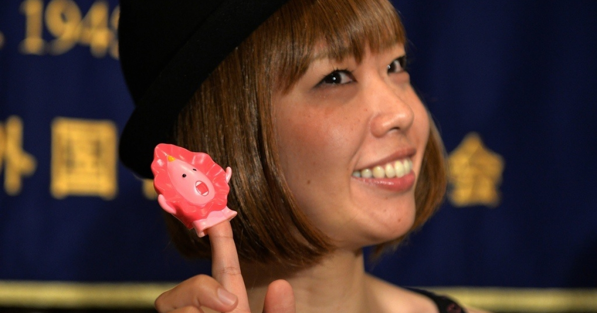Japanese artist Megumi Igarashi shows a small mascot shaped like a vagina