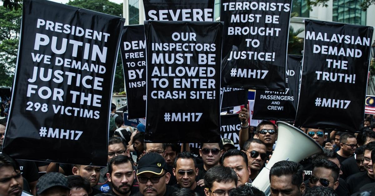 Malaysians outside the Russian embassy in Kuala Lumpur on Tuesday.</p>
