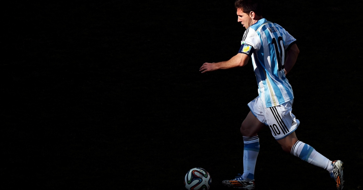 Lionel Messi of Argentina at the 2014 FIFA World Cup on July 1, 2014 in Sao Paulo, Brazil.</p>