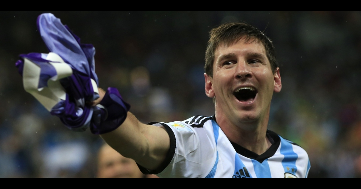 Argentina's forward and captain Lionel Messi celebrates his team's World Cup semifinal game victory.</p>