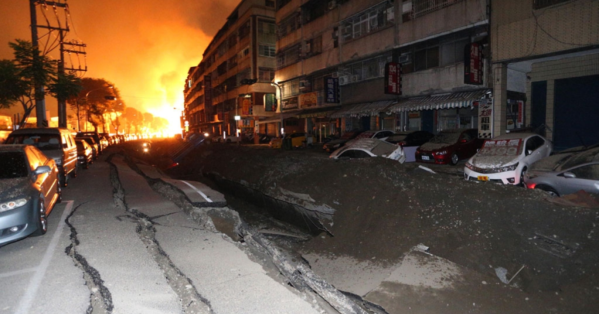 A blast rips through the city of Kaohsiung in southern Taiwan early on Aug. 1, 2014.</p>