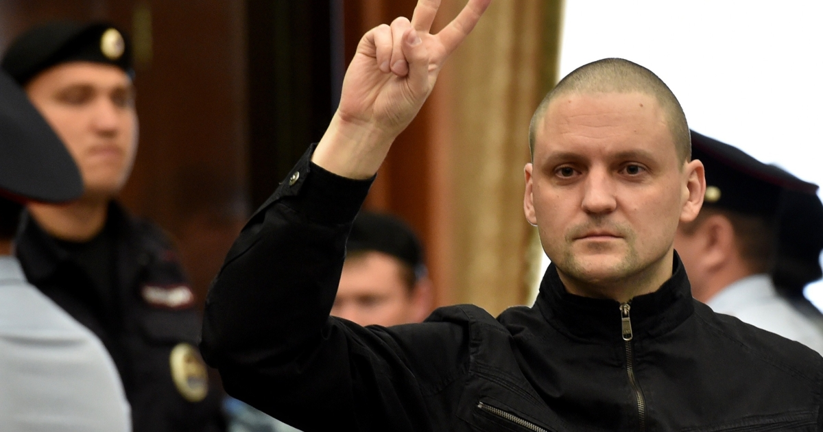Udaltsov in court on Thursday.</p>