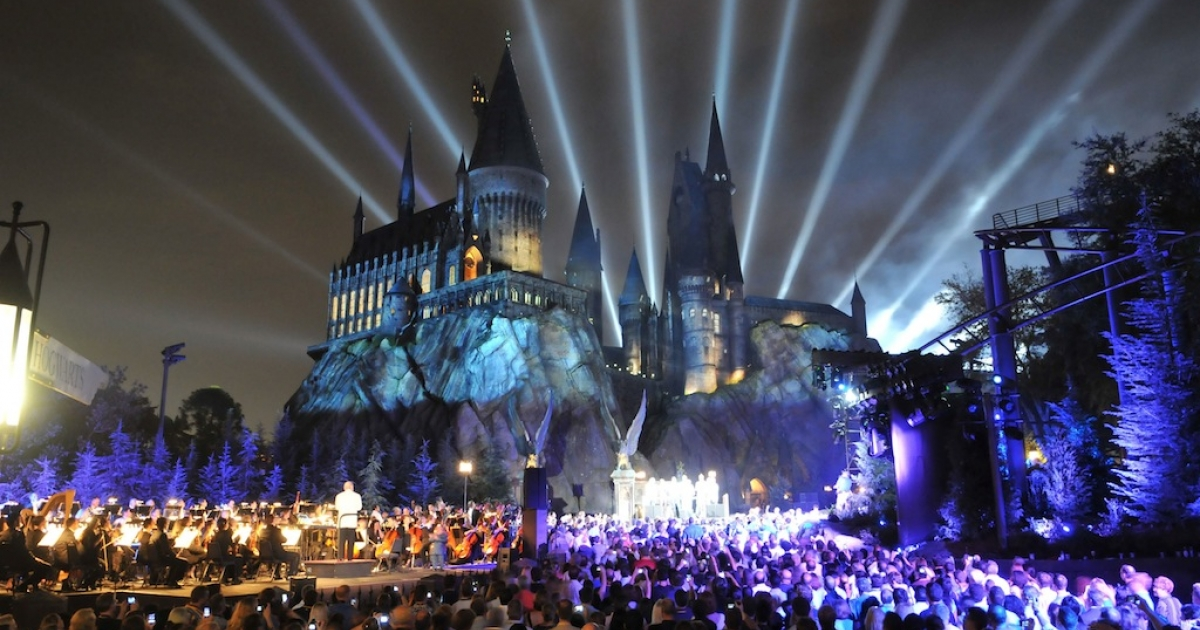 In this handout image provided by Universal Orlando Resort, The Wizarding World of Harry Potter kicked off its grand opening celebration with help from 'Harry Potter' film stars Tom Felton, Michael Gambon, Bonnie Wright, Oliver Phelps, Daniel Radcliffe, Matthew Lewis, Warwick Davis, Rupert Grint and James Phelps on June 16, 2010 in Orlando, Florida.</p>