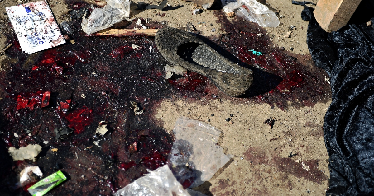 A shoe and debris at the scene of an explosion on May 16 on the outskirts of Nairobi's business district. Ten people were killed and over 70 wounded.</p>