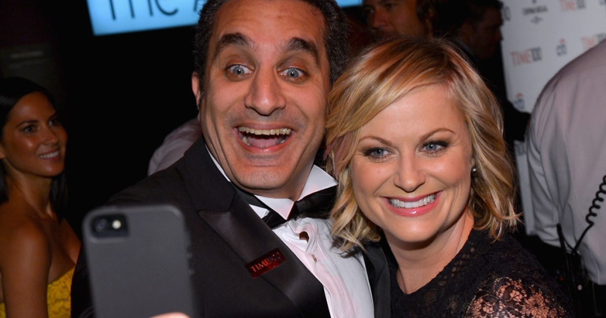 Comedians Bassem Youssef and Amy Poehler take a selfie at the TIME'S 100 Most Influential People in the World reception at the Lincoln Center on April 23, 2013 in New York City.</p>