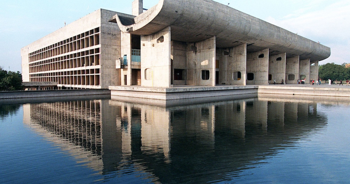 CHANDIGARH - JANUARY 9:  Le Corbusier designed the impressive Legislative Assembly building in Chandigarh, in his attempt to enable people from all levels of society to