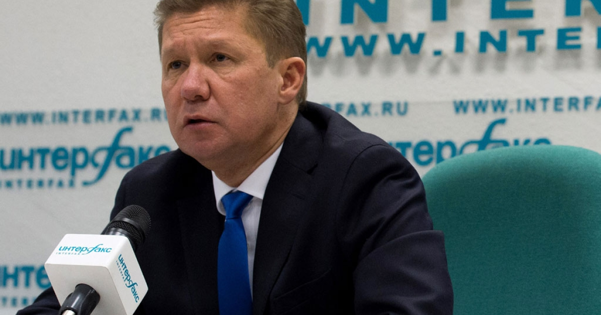 Russia's gas giant Gazprom CEO, Alexei Miller, speaks at a press conference in Moscow on June 16, 2014, following a round of talks on Russia-Ukraine gas supply.</p>