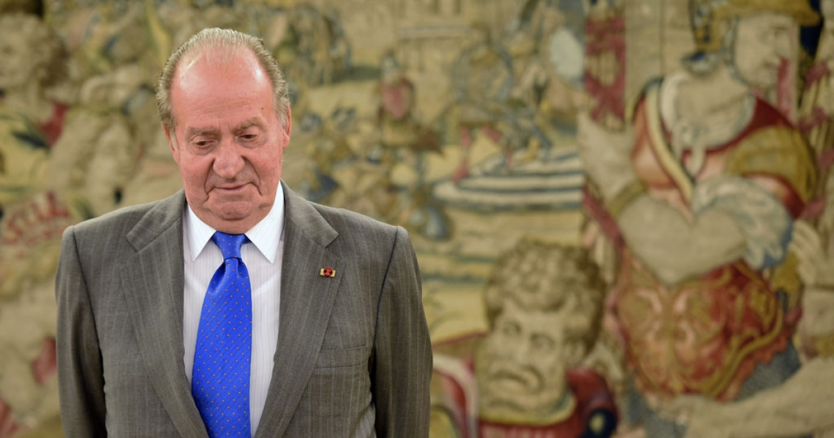 Spain's King Juan Carlos at the Zarzuela Palace near Madrid on April 24, 2014.</p>