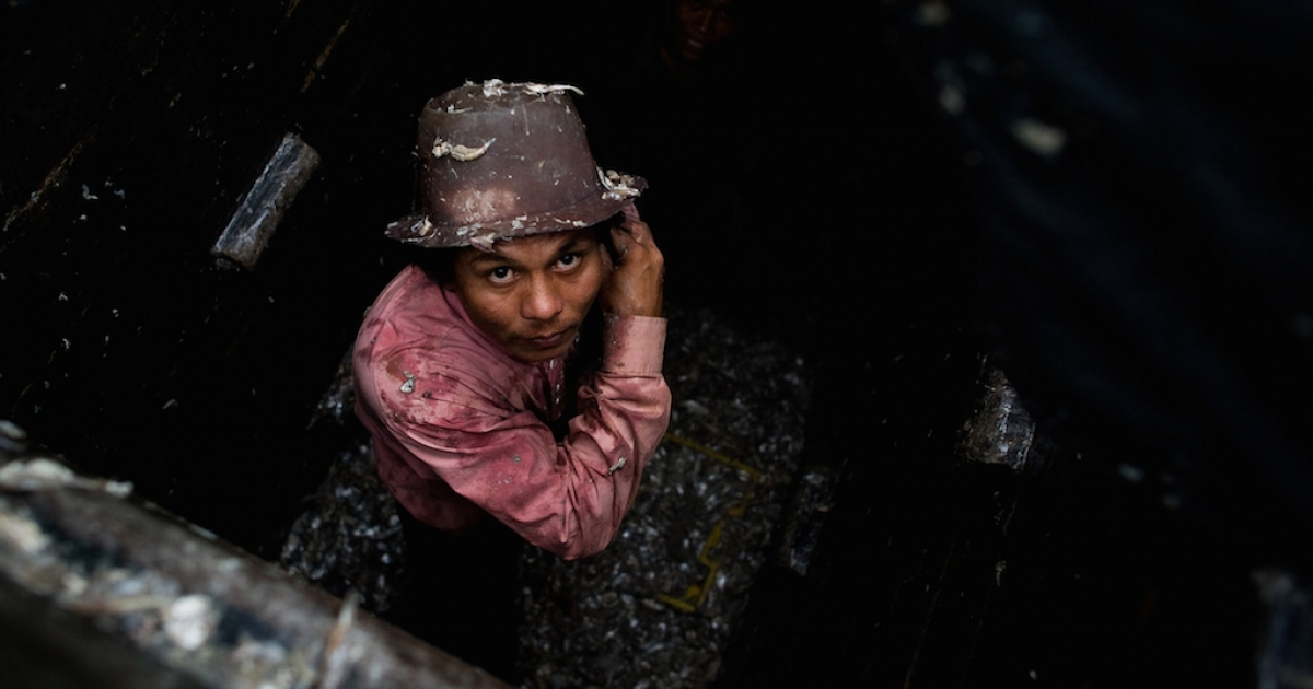 A laborer from Myanmar works in the hull of a Thai fishing vessel. Trash fish caught by forced laborers is a key ingredient in fish sauce, pet food and shrimp feed.</p>