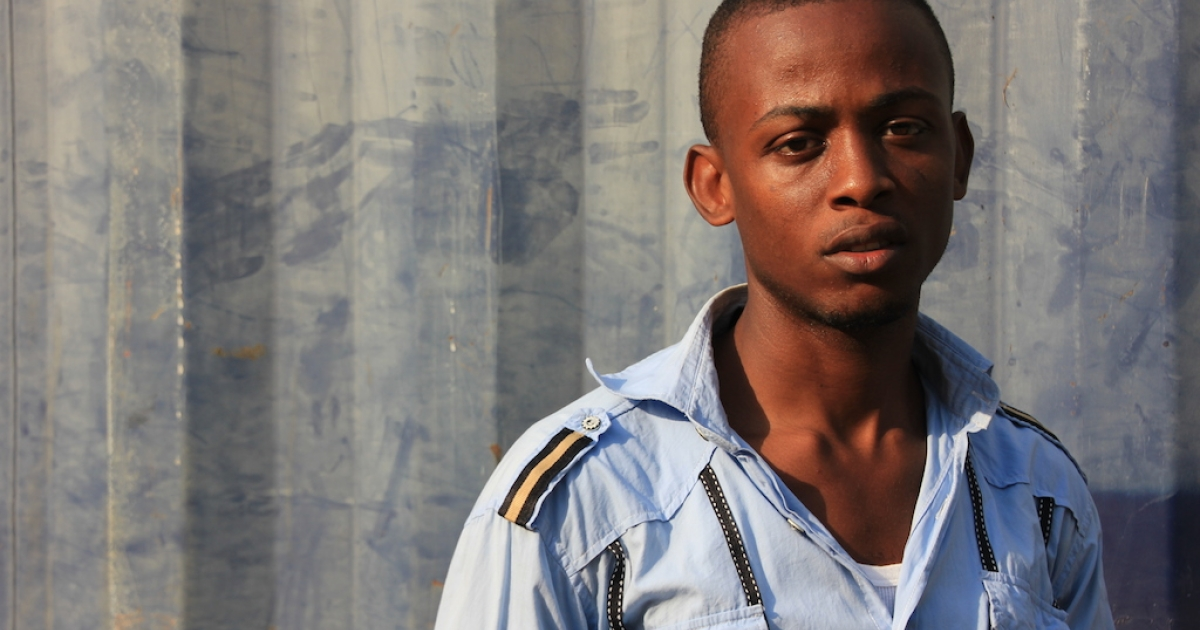 Liberian Mike Otis Myers, 29, former child soldier and PTSD patient in Nimba County, February 2014.</p>