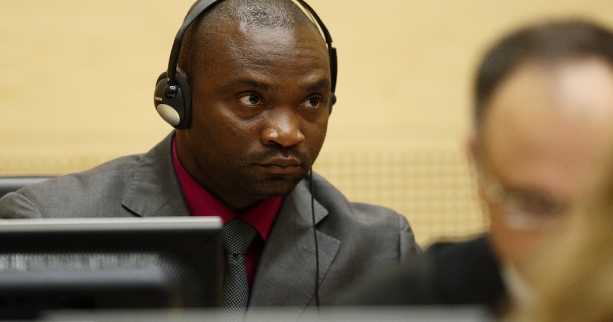In this picture taken on May 15, 2012 Congolese national and former militia chief Germain Katanga looks on during the closing statements in his and fellow former militia chief Mathieu Ngudjolo Chui's trial, at the International Criminal Court (ICC) in The Hague. Former Congolese militia chiefs  Mathieu Ngudjolo Chui and Germain Katanga claimed they were innocent of war crimes and crimes against humanity at the International Criminal Court (ICC) in The Hague on May 23, 2012.</p>