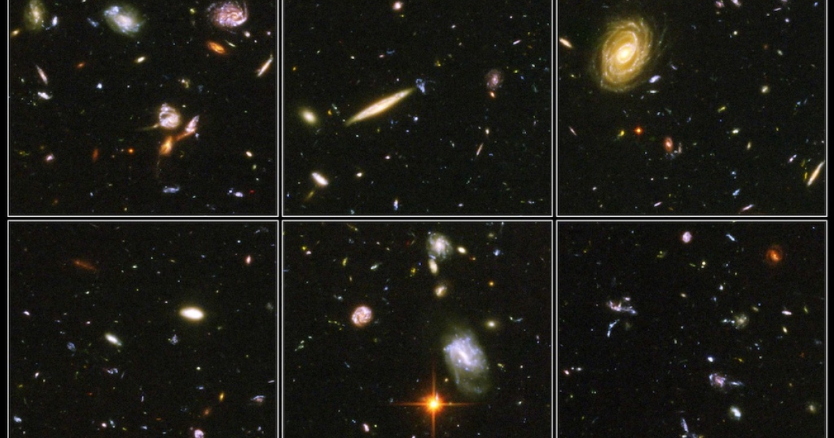 IN SPACE: In this NASA handout, a view of  deepest view of the visible universe ever achieved are seen in a Hubble Telescope composite photograph released March 9, 2004. The Hubble Ultra Deep Field (HUDF) photograph is a composite of a million one-second exposures and reveals galaxies from the time shortly after the big bang.</p>