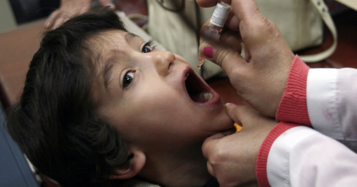 A Syrian child gets a polio vaccination at a clinic in Damascus on November 20, 2013.</p>