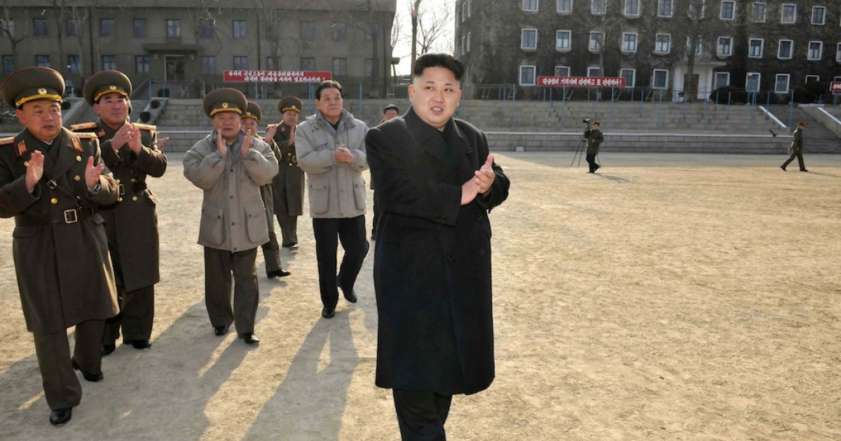 This undated picture released from North Korea's official Korean Central News Agency (KCNA) on January 12, 2014 shows North Korean leader Kim Jong-Un (C, front) inspecting the command of Korean People's Army (KPA) Unit 534. AFP PHOTO/KCNA via KNS</p>