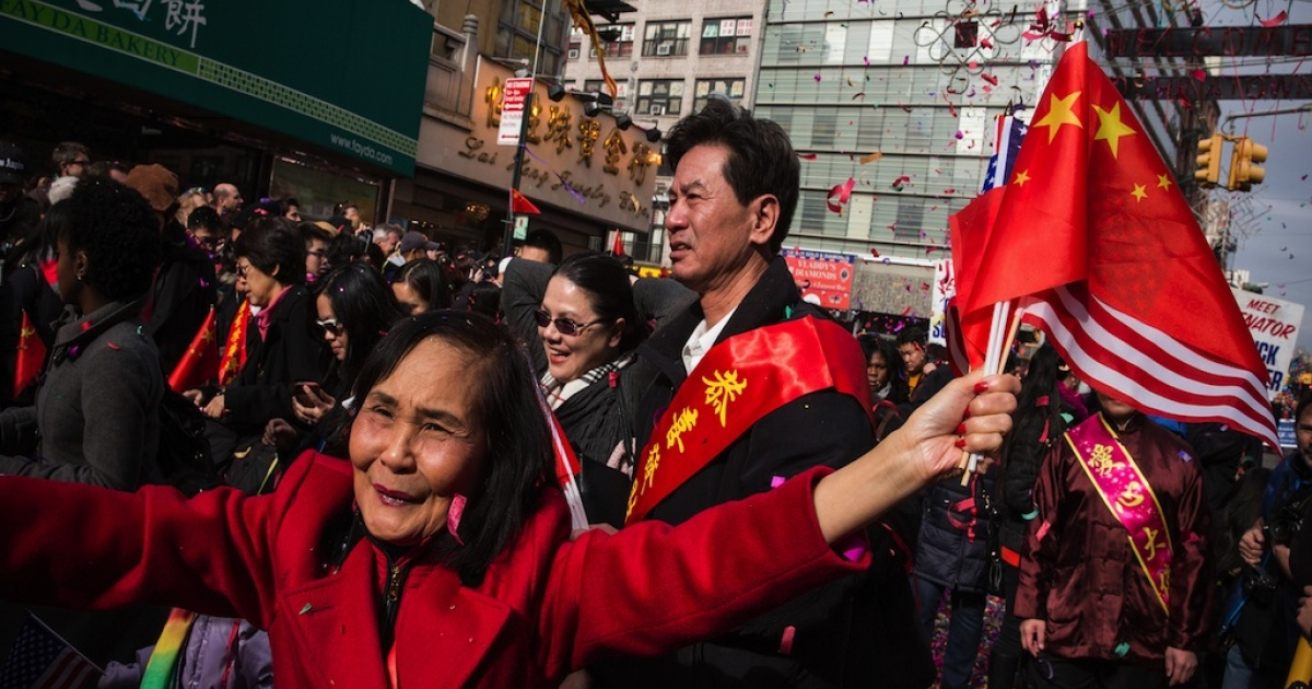 People participate in the Chinese New Year Parade on February 2, 2014 in the Chinatown neighborhood of New York City. The parade, which is in it's 15th year in New York, brought out thousands of participants and viewers.</p>