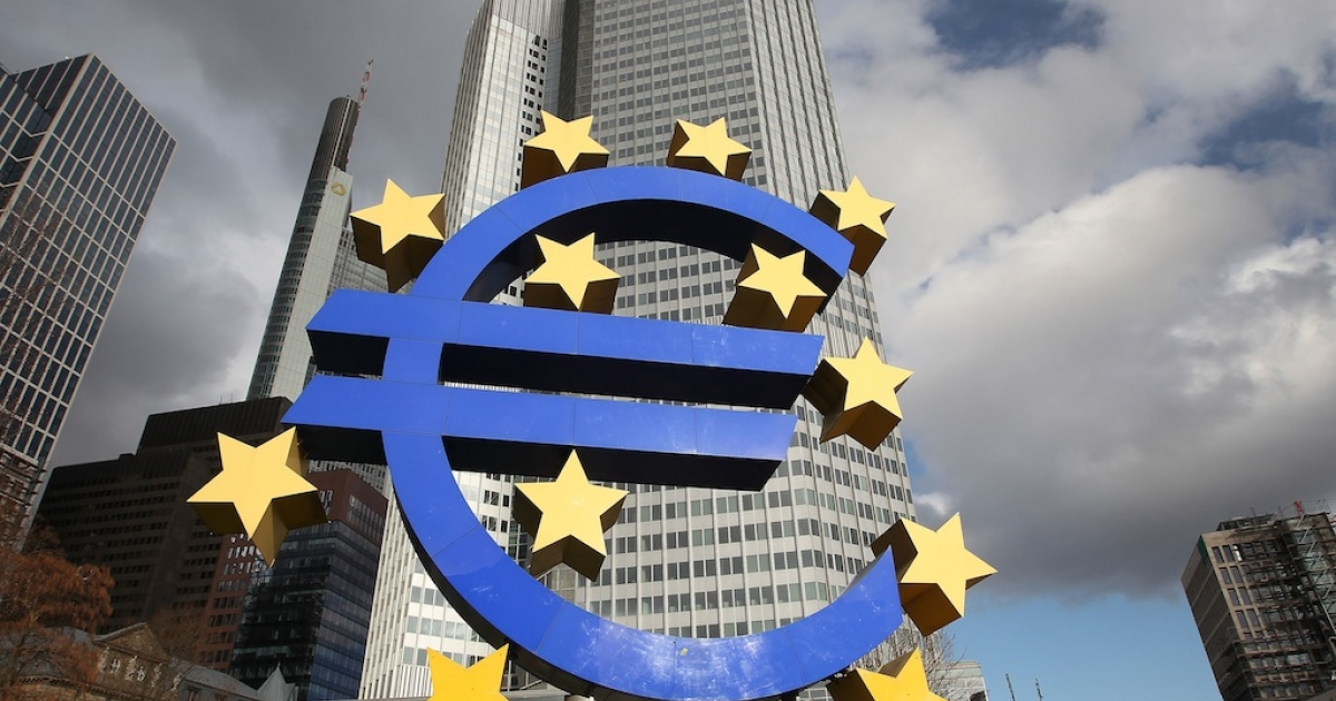 The Euro logo is pictured in front of the European Central Bank (ECB) in Frankfurt/Main, Germany, on February 6, 2014. European Central Bank chief Mario Draghi said Thursday that the euro area is not experiencing deflation -- or a widespread fall in prices -- even though inflation is very low.</p>