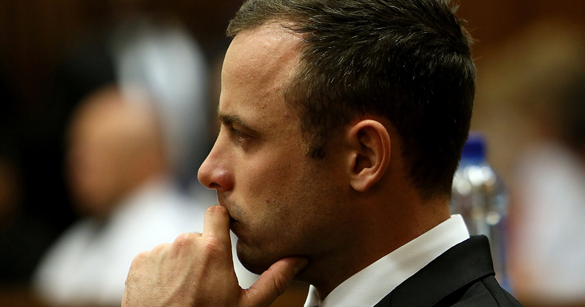 South African athlete Oscar Pistorius looks on during his court appearance during his court appearance on the third day of his trial.</p>