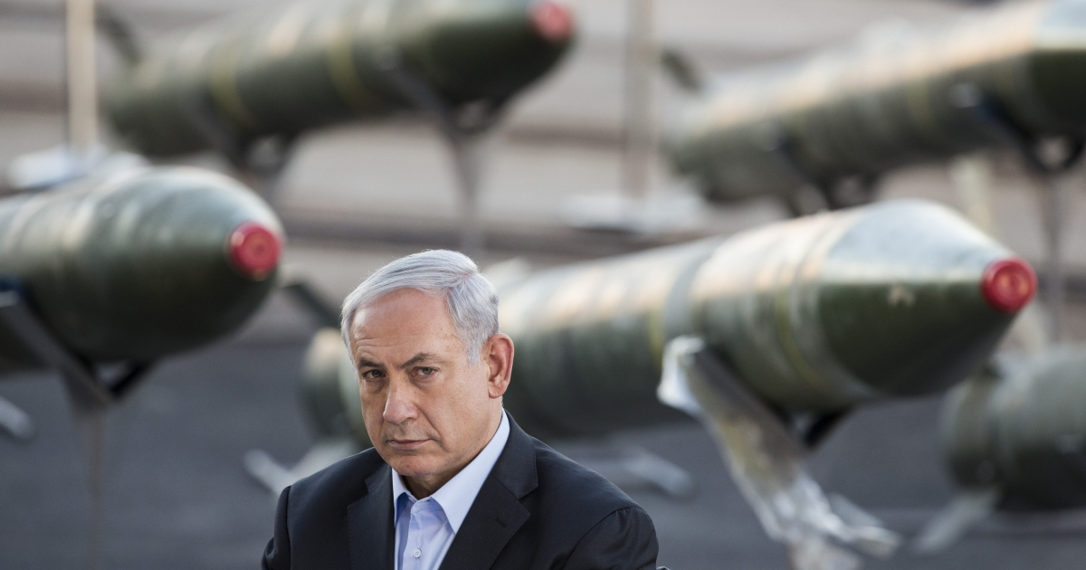 Israeli Prime Minister Benjamin Netanyahu speaks to the press, as Israel displayed advanced rockets unloaded from the Panamanian-flagged Klos-C vessel. The vessel was allegedly transporting arms from Iran to Gaza.</p>
