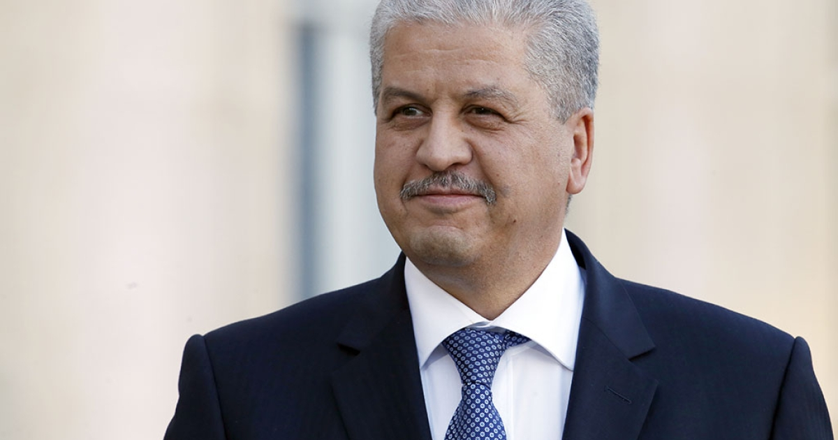 Algerian Prime minister Abdelmalek Sellal poses at the Elysee presidential palace after a meeting with French President on Dec. 5, 2013 in Paris.</p>