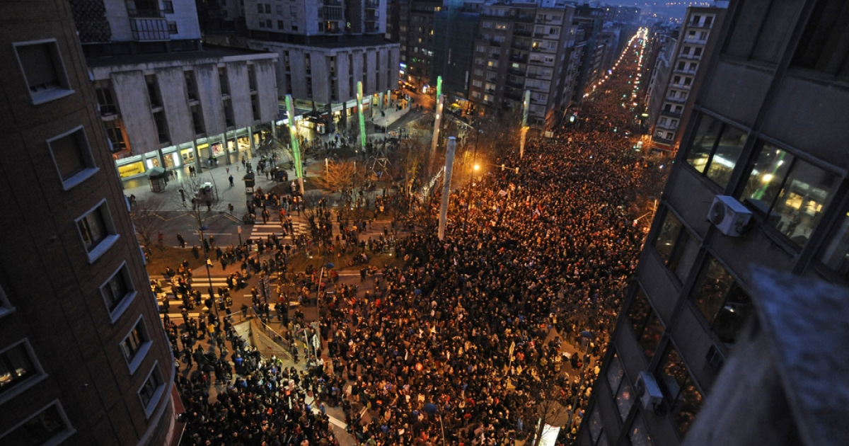 People march during a demonstration called by several Basque political parties, trade unions and social groups in the city of Bilbao on Jan. 11, 2014 .</p>