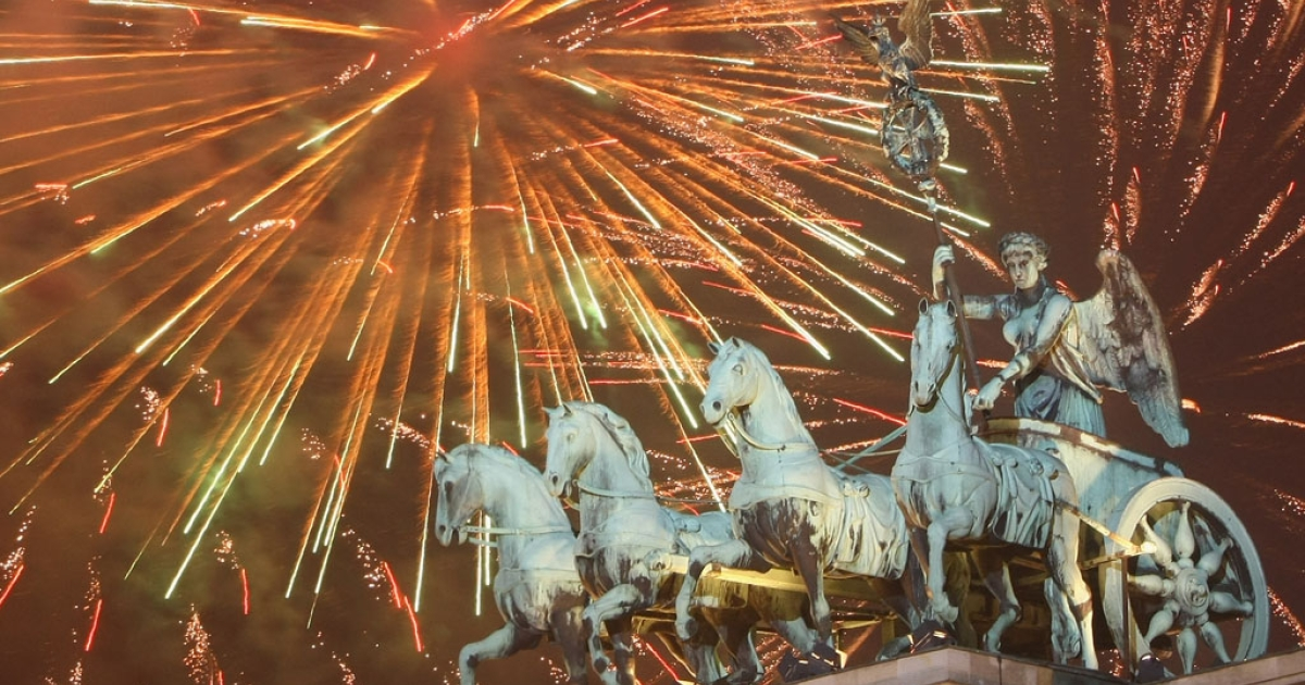 Fireworks explode over the Brandenburg Gate on Jan. 1, 2009, in Berlin, Germany.</p>