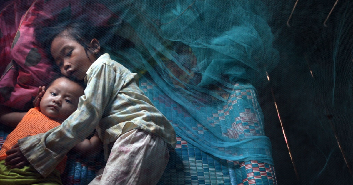 Children rest under a mosquito net on July 18, 2010 in Prey Mong kol village in Pailin province in Cambodia.</p>