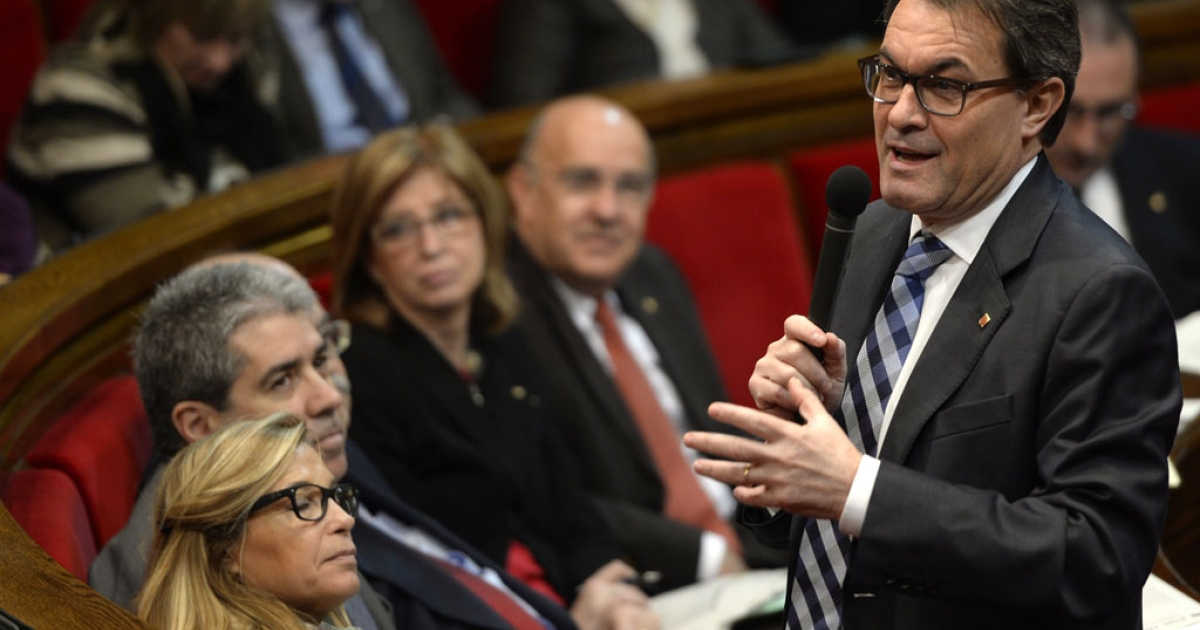 President of the Catalonian regional government Artur Mas addresses Catalonia's parliament on March 26, 2014.</p>