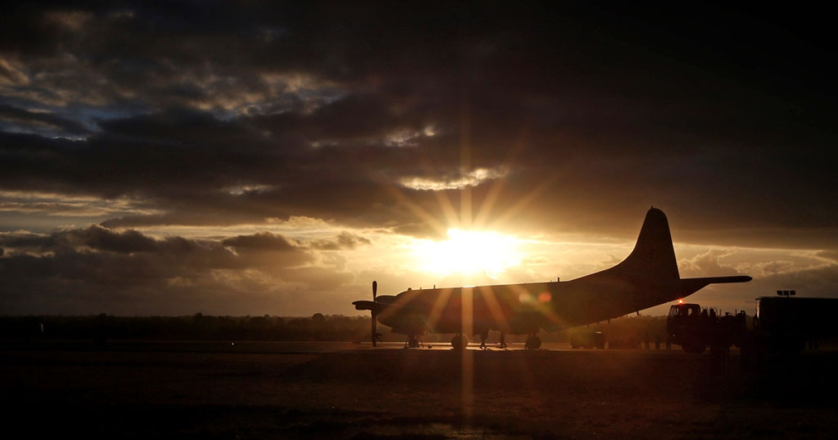 A South Korean Navy (ROKN) P-3C Orion is pictured after returning from a sortie over the southern Indian Ocean in search for Malaysian Airlines Flight MH370, March 30, 2014.</p>