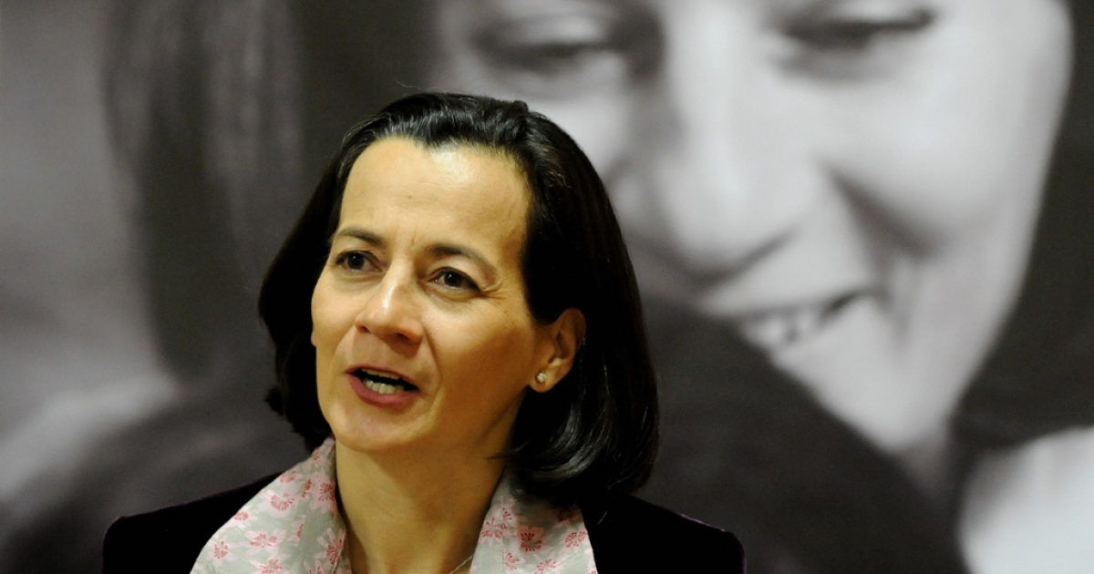Former FARC hostage Clara Rojas in an interview at her book launch.</p>