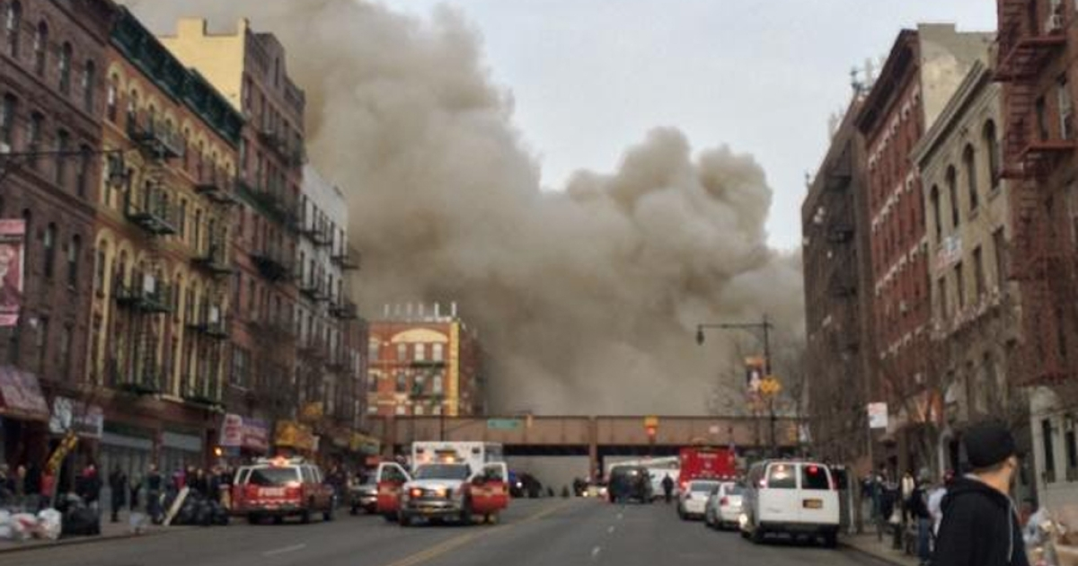The scene of a possible explosion and building collapse in East Harlem on March 12, 2014.</p>