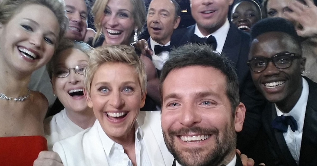In this handout photo provided by Ellen DeGeneres, Hollywood celebrities pose for a selfie taken by Bradley Cooper.</p>