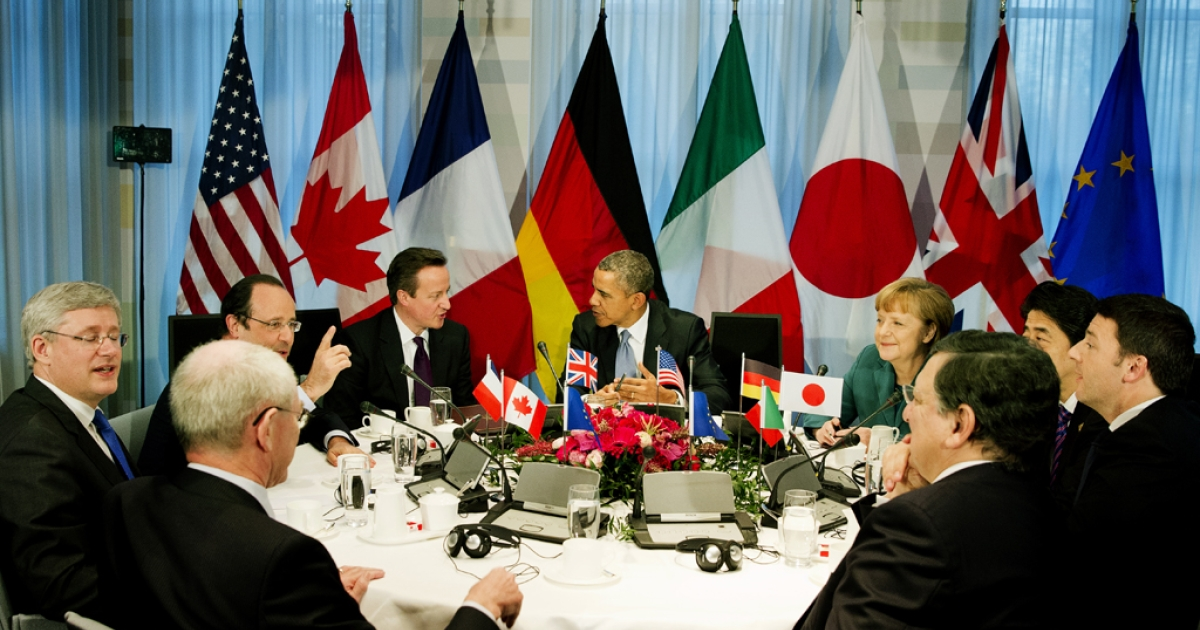 Meeting of the G7 leaders on March 24, 2014 in The Hague, Netherlands.</p>