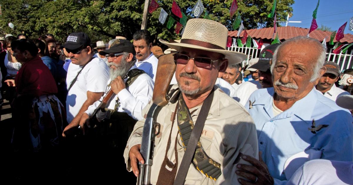 Hipolito Mora, leader of the self-protection militia in La Ruana, Michoacan state, Mexico.</p>