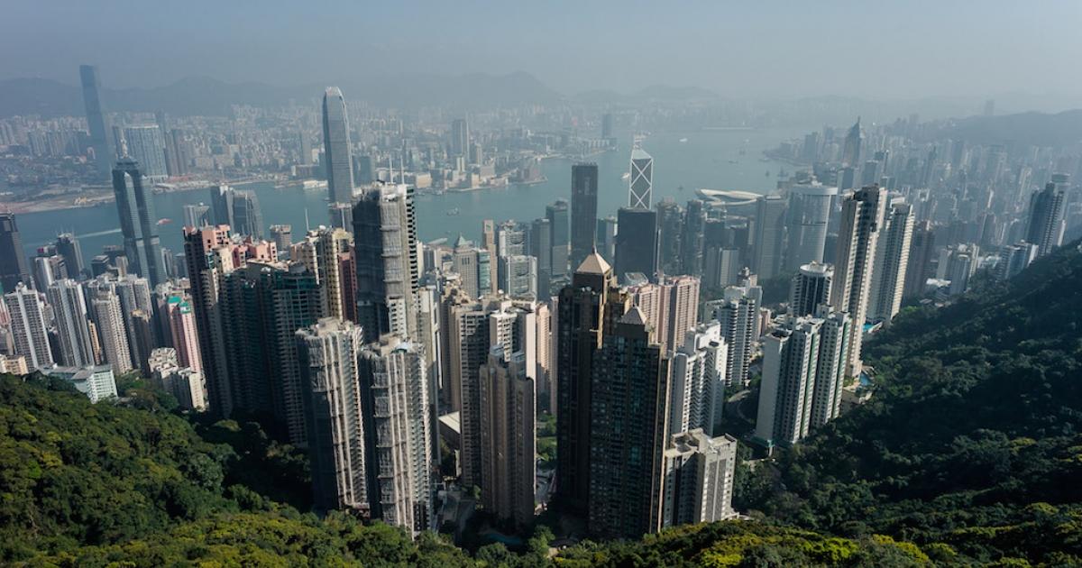 The Hong Kong skyline.</p>