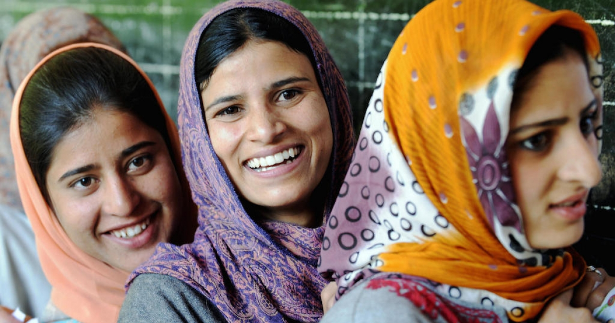 Young Kashmiri women wait for their turn to vote in India's elections, in May 2009. When India goes to the polls next month, young voters will be a powerful force.</p>