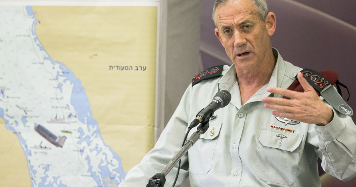 Israel's Chief of Staff Lieutenant Benny Gantz gives a press conference at the Defense Ministery in Tel Aviv, on March 5, 2014, as he briefs the press on events in the Red Sea.</p>