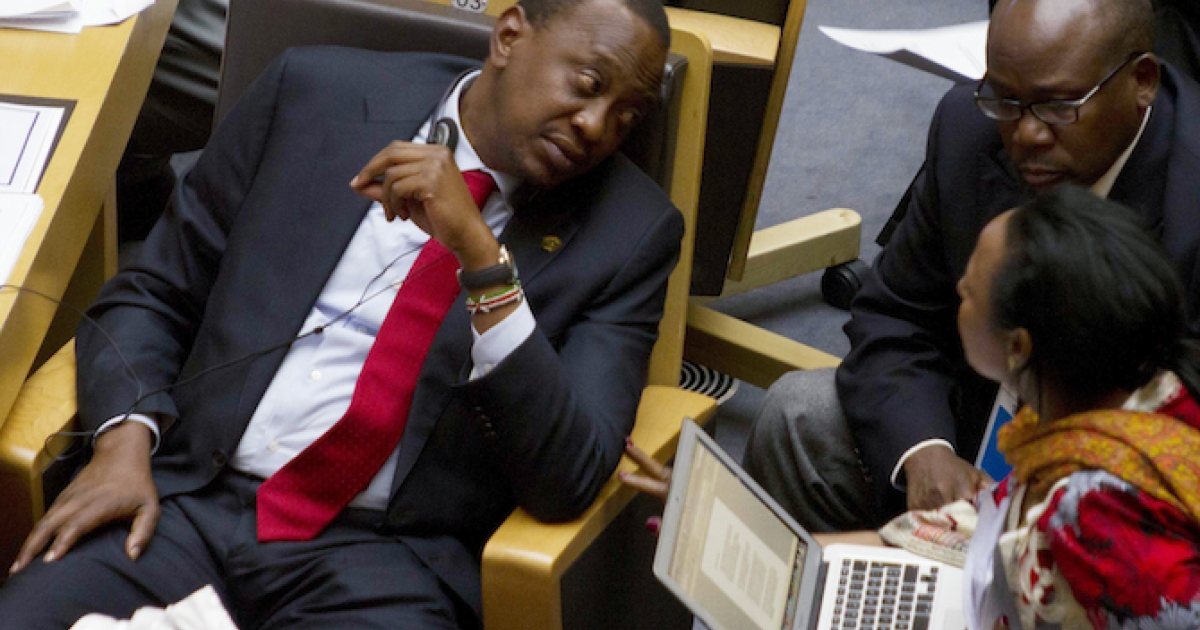 Kenyan President Uhuru Kenyatta at the African Union ahead of the October 2013 special summit on the continent's relationship with the International Criminal Court.</p>