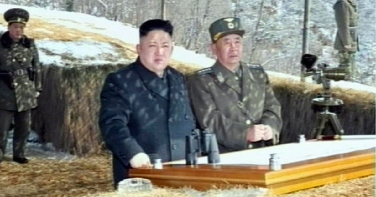This screengrab taken from North Korean TV on March 20, 2013, shows Kim Jong Un overseeing a live fire military drill.</p>
