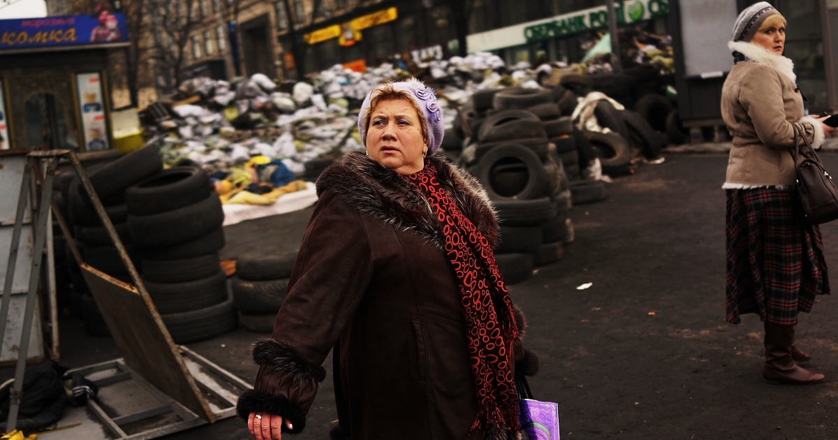 On Kyiv's Maidan. Ukrainians already very hard-pressed will have to endure austerity in exchange for international financial aid.</p>