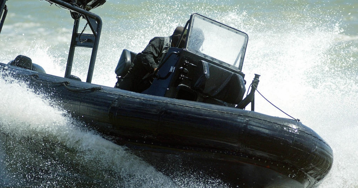 Malaysian special forces perform boat handling skills during an anti-piracy demonstration in the Straits of Malacca in 2004. For centuries, the 550 mile waterway has been a piracy hotspot. It has reclaimed its status as the world's worst piracy locale from Somalia.</p>